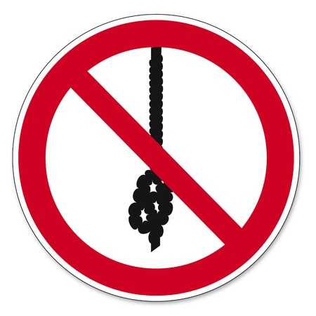 anlge: Prohibition signs BGV icon pictogram Rope knot prohibited