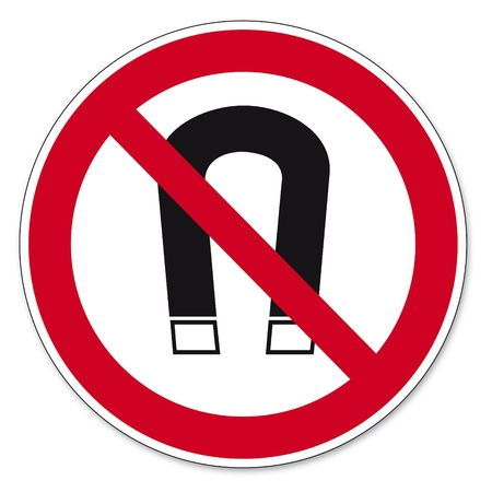 anlge: Prohibition signs BGV icon pictogram Magnets prohibited magnetism