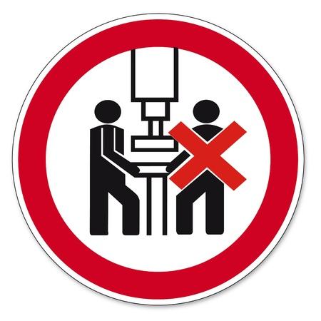 personne seule: Interdiction des signes BGV machine pictogramme ic�ne doit �tre actionn� par une seule personne Illustration