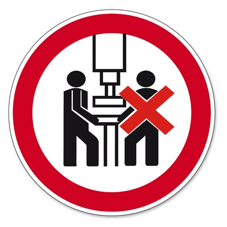 prohibit the production: Prohibition signs BGV icon pictogram Machine shall be operated by one person