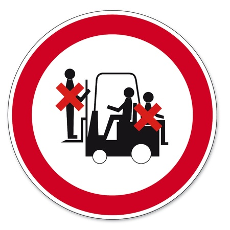 safety circle: Prohibited to ride truck Illustration