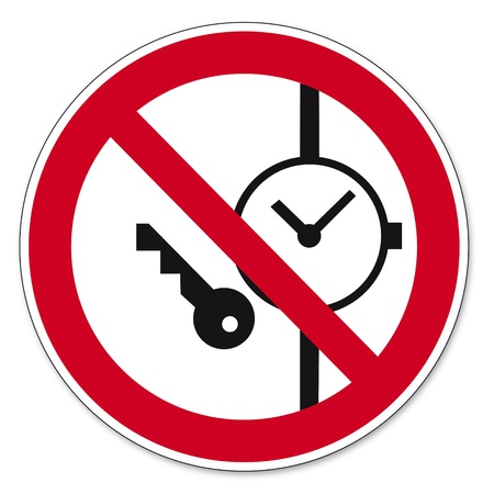 Prohibition signs BGV icon pictogram Carrying metal parts of clocks or prohibited   Illustration