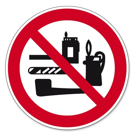 anlge: Prohibition signs BGV icon pictogram Transportation of tobacco products lighters and strike prohibited Redwoods