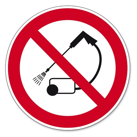 anlge: Prohibition signs BGV icon pictogram Clean with high pressure prohibited Illustration