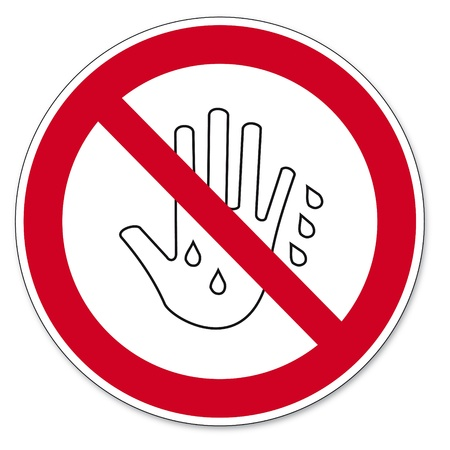 Prohibition signs BGV icon pictogram Touch it with wet hands prohibited   Vector