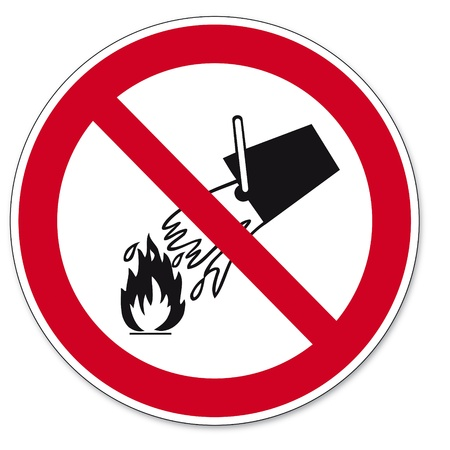 Prohibition signs BGV icon pictogram Extinguish with water prohibited   Vector