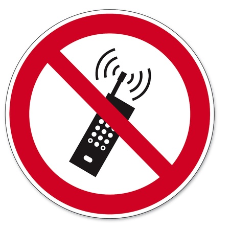 Prohibition signs BGV icon pictogram mobile phone banned smartphone Vector