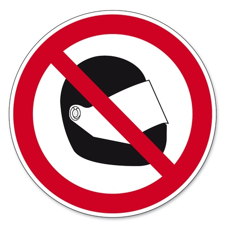 Prohibition signs BGV icon pictogram Motorcycle helmet banned Illustration