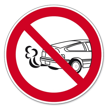 forbade: Prohibition signs BGV icon pictogram Stop the engine poisoning hazard