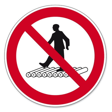 anlge: Prohibition signs BGV icon pictogram Do not step on roller trac