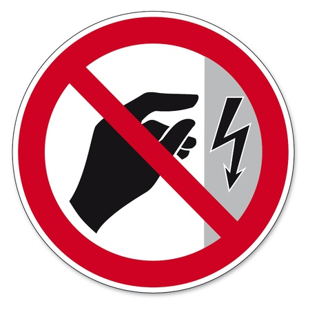 energized: Prohibition signs BGV icon pictogram Do not touch housing energized