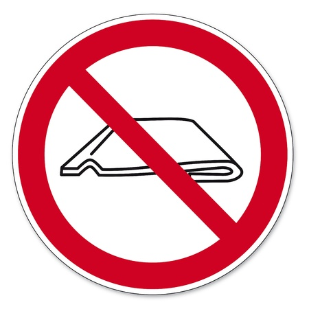 anlge: Prohibition signs BGV icon pictogram Do not fold or push together Illustration