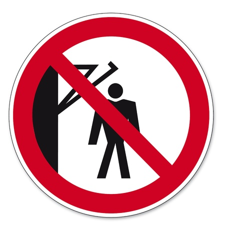 forbade: Prohibition signs BGV icon pictogram Do not walk behind the arm