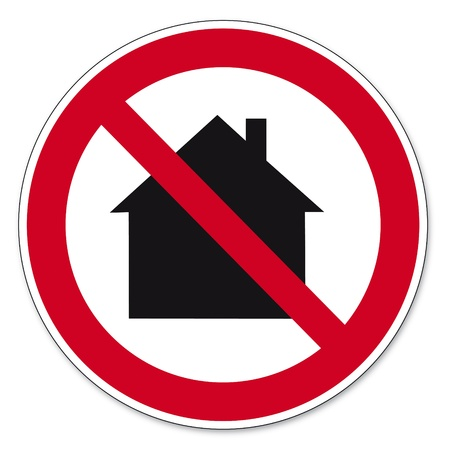 Prohibition signs BGV icon pictogram Not for use in residential areas house Stock Vector - 14502838