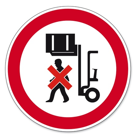 prohibitions: Prohibition signs BGV icon pictogram Do not walk under raised load Illustration