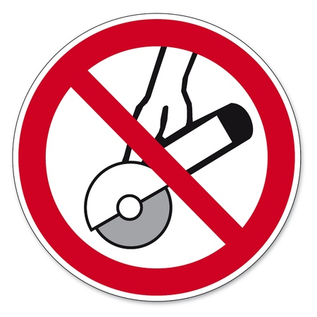 prohibitions: Prohibition signs BGV icon pictogram Hands-free and hand held machines permitted
