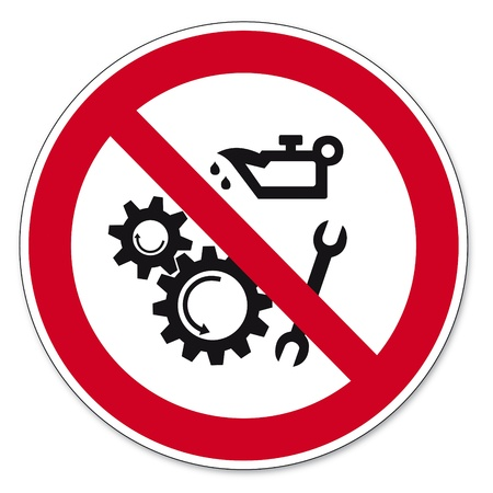 lubricate: Prohibition signs BGV icon pictogram Lubricating oils prohibited Illustration