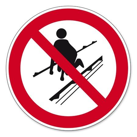 cinta transportadora: Prohibición Señales BGV icono transportadores de pasajeros pictograma prohibido