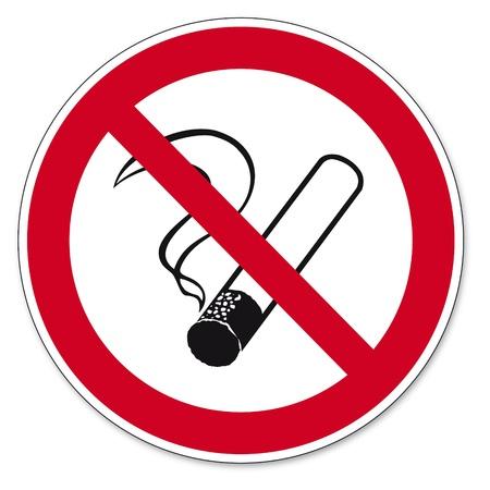 Prohibición signos BGV icono de pictograma no fumar cigarrillos