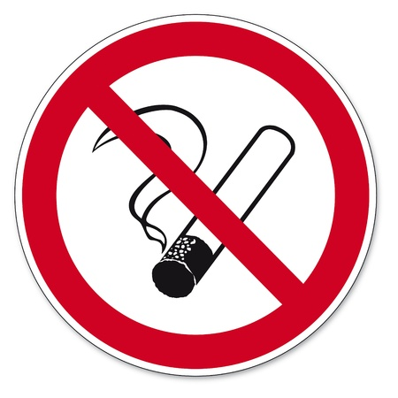 prohibido fumar: Prohibición signos BGV icono de pictograma no fumar cigarrillos