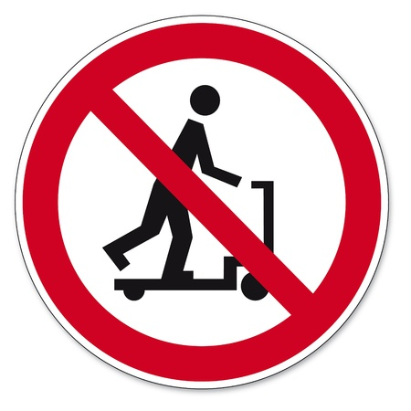 prohibit the production: Prohibition signs BGV icon pictogram Riding a scooter with hand trucks banned Illustration