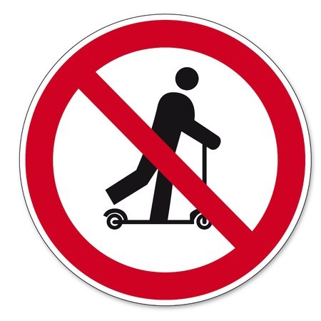 Prohibition signs BGV icon pictogram Scootering prohibited Vector