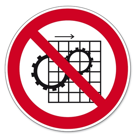 anlge: Prohibition signs BGV icon pictogram Remove protective device prohibited