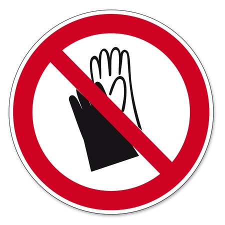 prohibitions: Prohibition signs BGV icon pictogram Wear protective gloves prohibited