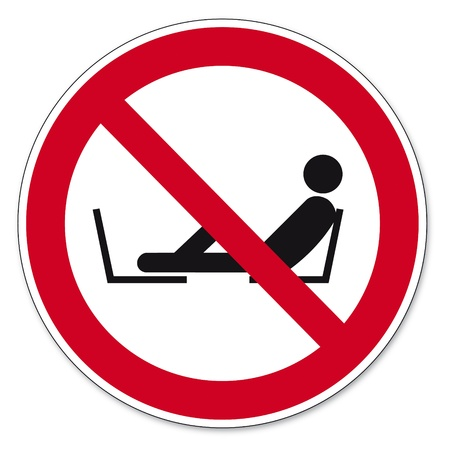 prohibitions: Prohibition signs BGV icon pictogram Forbidden to set foot seat Illustration