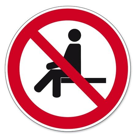 Prohibición signos BGV pictograma icono de prohibido sentarse Ilustración de vector