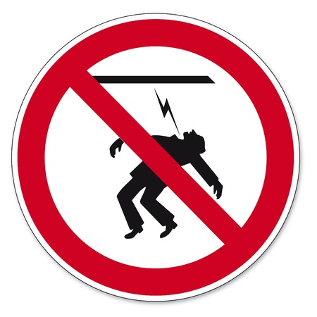 Prohibition signs BGV icon pictogram Power cables touching forbidden Vector