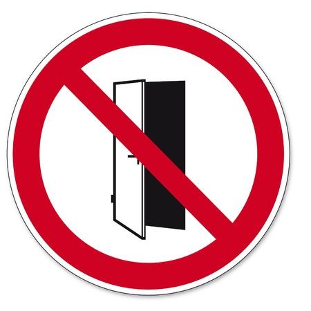 cerrar la puerta: Prohibición signos BGV Puertas pictograma icono no cierran la puerta abierta