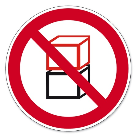 superposition: Prohibition signs BGV icon pictogram Stacked one above the other prohibited Illustration