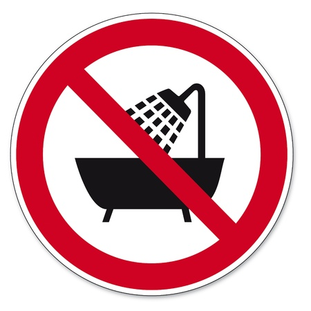 Prohibition signs BGV icon pictogram Device use in the bathtub Vector