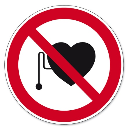 prohibitions: Prohibition signs BGV icon pictogram Heart attack pacemaker Illustration