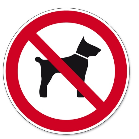 systems operations: Prohibition signs BGV icon pictogram Carrying animals dog cat
