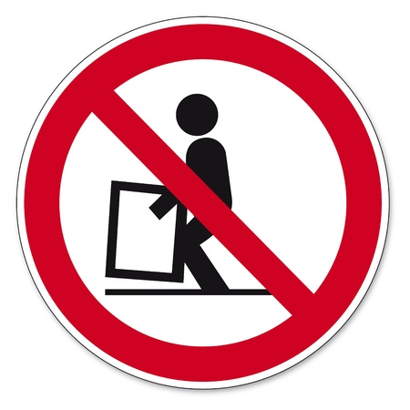 anlge: Prohibition signs BGV icon pictogram difficult to raise