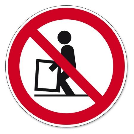 prohibit the production: Prohibition signs BGV icon pictogram difficult to raise