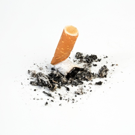 ashtray: Cigarette butts expressed no smoking