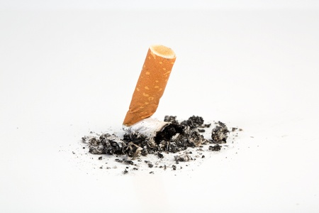 forbade: Cigarette butts expressed no smoking
