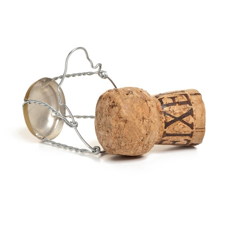 sylvester: champagne cork party sylvester on white background