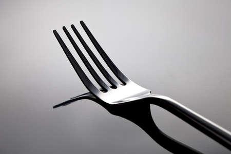 tabel: Silver fork tabel cutlery black  Stock Photo