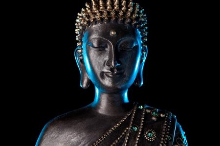Buddha statue with Blue glow  photo