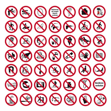 förbjuda: Förbudsskyltar BGV ikon piktogram uppsättning samling collage