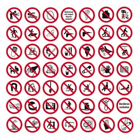 prohibido: Prohibición signos BGV pictograma icono de conjunto de recopilación del collage Vectores