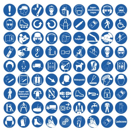 workplace safety: Commanded sign safety sign pictogram occupational safety sign General mandatory sign set collection