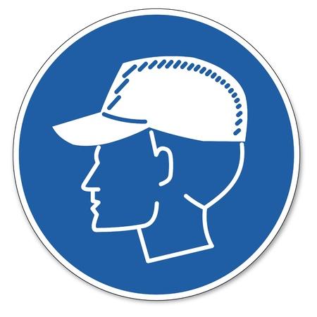 Beherrschte Zeichen Sicherheitszeichen Piktogramm Arbeitssicherheit Zeichen tragen Anstoßkappen Standard-Bild - 14650413