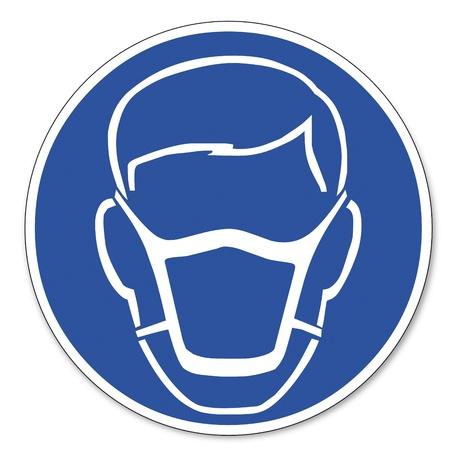 Gebood teken veiligheid teken pictogram arbeidsveiligheid teken dragen een masker
