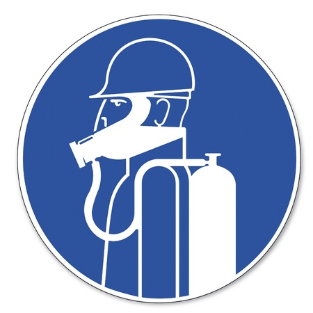 commanded: Commanded sign safety sign pictogram occupational safety sign Severe respiratory protection
