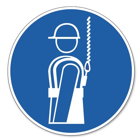 safety signs: Commanded sign safety sign pictogram occupational safety sign harness use